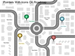Pointers With Icons On Roadmap Powerpoint Templates