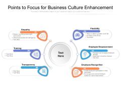 Points To Focus For Business Culture Enhancement Ppt PowerPoint Presentation Diagram Graph Charts PDF