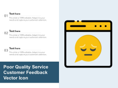 Poor Quality Service Customer Feedback Vector Icon Ppt PowerPoint Presentation Ideas Backgrounds PDF