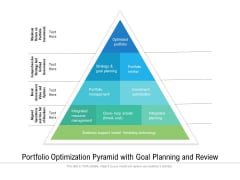 Portfolio Optimization Pyramid With Goal Planning And Review Ppt PowerPoint Presentation File Professional PDF