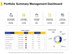 Portfolio Summary Management Dashboard Ppt PowerPoint Presentation Infographics Templates