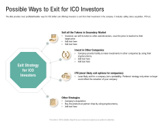 Possible Ways To Exit For ICO Investors Virtual Currency Financing Pitch Deck Professional PDF