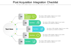 Post Acquisition Integration Checklist Ppt PowerPoint Presentation Slides Graphics Example Cpb Pdf
