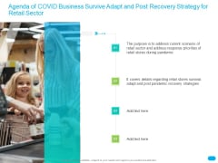 Post COVID Recovery Strategy For Retail Industry Agenda Of COVID Business Survive Adapt And Post Recovery Strategy For Retail Sector Information PDF