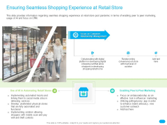 Post COVID Recovery Strategy For Retail Industry Ensuring Seamless Shopping Experience At Retail Store Background PDF