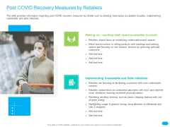 Post COVID Recovery Strategy For Retail Industry Post COVID Recovery Measures By Retailers Background PDF