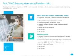 Post COVID Recovery Strategy For Retail Industry Post COVID Recovery Measures By Retailers Contd Topics PDF