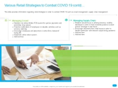 Post COVID Recovery Strategy For Retail Industry Various Retail Strategies To Combat COVID 19 Contd Structure PDF