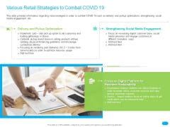 Post COVID Recovery Strategy For Retail Industry Various Retail Strategies To Combat COVID 19 Guidelines PDF