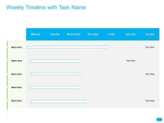 Post COVID Recovery Strategy For Retail Industry Weekly Timeline With Task Name Rules PDF
