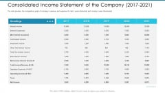 Post Initial Pubic Offering Market Pitch Deck Consolidated Income Statement Of The Company 2017 To 2021 Designs PDF