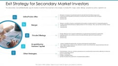 Post Initial Pubic Offering Market Pitch Deck Exit Strategy For Secondary Market Investors Clipart PDF