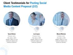 Posting Social Media Content Client Testimonials For Posting Social Media Content Proposal Management Demonstration PDF