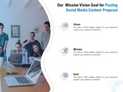 Posting Social Media Content Our Mission Vision Goal For Posting Social Media Content Proposal Background PDF