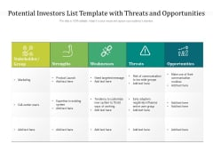 Potential Investors List Template With Threats And Opportunities Ppt PowerPoint Presentation File Ideas PDF