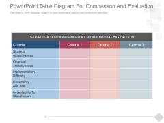 PowerPoint Table Diagram For Comparison And Evaluation Ppt PowerPoint Presentation Microsoft