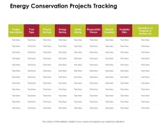 Power Management System And Technology Energy Conservation Projects Tracking Ppt PowerPoint Presentation Infographic Template Display PDF