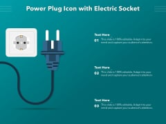 Power Plug Icon With Electric Socket Ppt PowerPoint Presentation Professional Graphics Tutorials PDF