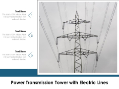 Power Transmission Tower With Electric Lines Ppt PowerPoint Presentation Pictures Templates PDF
