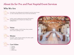 Pre Postnuptial About Us For Pre And Post Nuptial Event Services Ppt Layouts Layout Ideas PDF