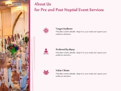 Pre Postnuptial About Us For Pre And Post Nuptial Event Services Value Ppt Model Layout PDF