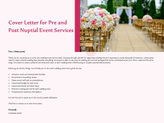 Pre Postnuptial Cover Letter For Pre And Post Nuptial Event Services Ppt Inspiration Influencers PDF