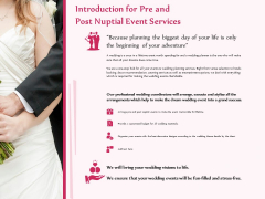 Pre Postnuptial Introduction For Pre And Post Nuptial Event Services Ppt Visual Aids Portfolio PDF