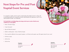 Pre Postnuptial Next Steps For Pre And Post Nuptial Event Services Ppt Ideas Guidelines PDF
