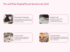Pre Postnuptial Pre And Post Nuptial Event Service List Ppt File Design Inspiration PDF