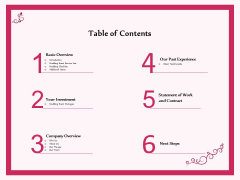 Pre Postnuptial Table Of Contents Ppt Portfolio Styles PDF