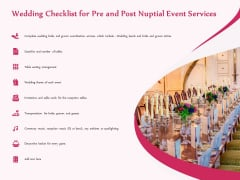Pre Postnuptial Wedding Checklist For Pre And Post Nuptial Event Services Ppt Portfolio Smartart PDF