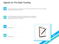 Pre Seed Funding Pitch Deck Agenda For Pre Seed Funding Download PDF