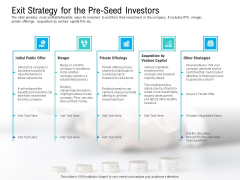 Pre Seed Funding Pitch Deck Exit Strategy For The Pre Seed Investors Brochure PDF