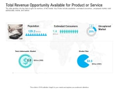 Pre Seed Funding Pitch Deck Total Revenue Opportunity Available For Product Or Service Ppt Icon Example PDF