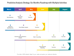 Predictive Analysis Strategy Six Months Roadmap With Multiple Activities Icons