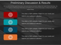 Preliminary Discussion And Results Ppt PowerPoint Presentation Icon Picture