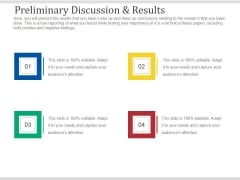 Preliminary Discussion And Results Ppt PowerPoint Presentation Layouts Files