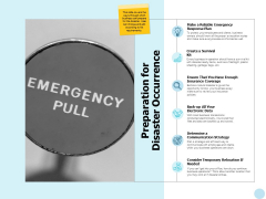 Preparation For Disaster Occurrence Ppt PowerPoint Presentation Portfolio Format