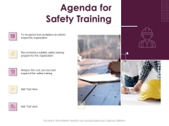 Preventive Measures Workplace Agenda For Safety Training Ppt Outline Graphic Images PDF