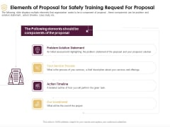 Preventive Measures Workplace Elements Of Proposal For Safety Training Request For Proposal Template PDF