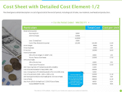 Price Architecture Cost Sheet With Detailed Cost Element Cost Ppt PowerPoint Presentation Show Designs Download PDF