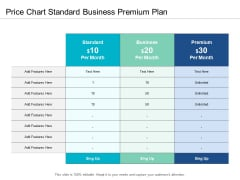 Price Chart Standard Business Premium Plan Ppt Powerpoint Presentation Visual Aids Infographic Template