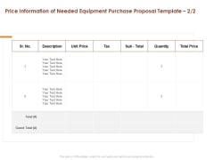 Price Information Of Needed Equipment Purchase Proposal Price Ppt Infographic Template Backgrounds PDF