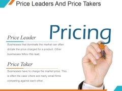 Price Leaders And Price Takers Ppt PowerPoint Presentation Microsoft