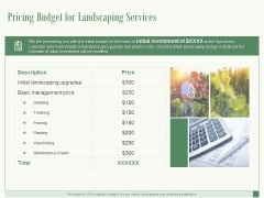 Pricing Budget For Landscaping Services Ppt PowerPoint Presentation Ideas Microsoft