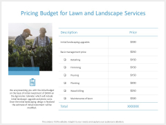 Pricing Budget For Lawn And Landscape Services Ppt PowerPoint Presentation Icon Layout Ideas