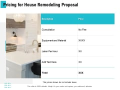 Pricing For House Remodeling Proposal Ppt PowerPoint Presentation Inspiration Templates