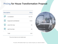 Pricing For House Transformation Proposal Ppt PowerPoint Presentation Icon Examples