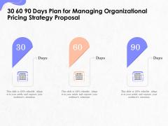 Pricing Profitability Management 30 60 90 Days Plan For Managing Organizational Strategy Proposal Microsoft PDF