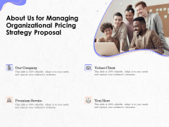 Pricing Profitability Management About Us For Managing Organizational Pricing Strategy Proposal Icons PDF
